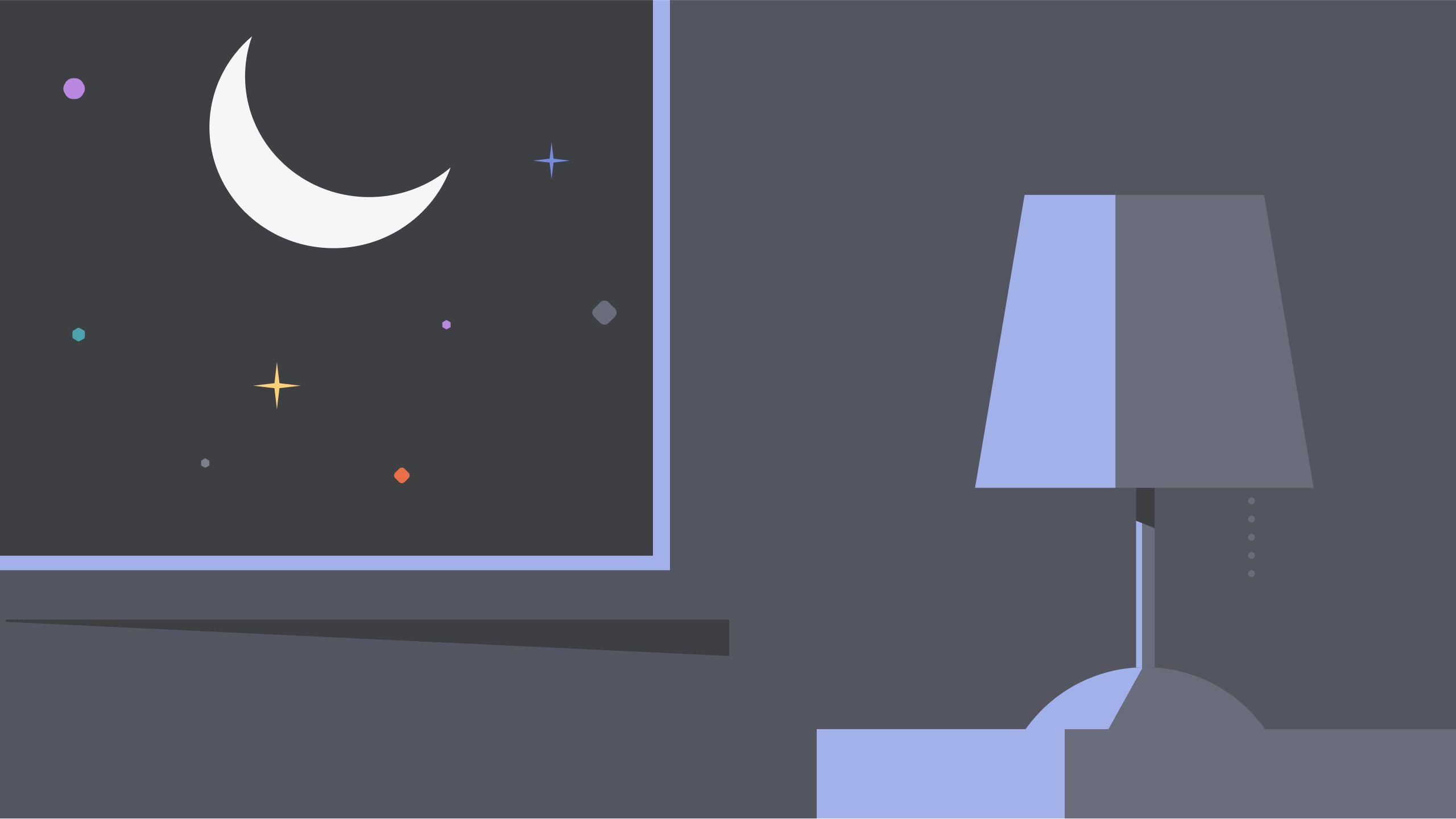 Dibujo de mesita de noche y luna