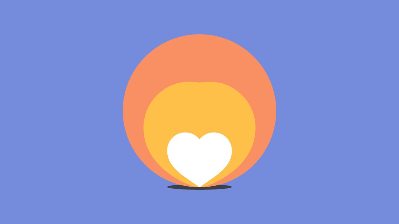 Dibujo de corazón dentro de dos círculos