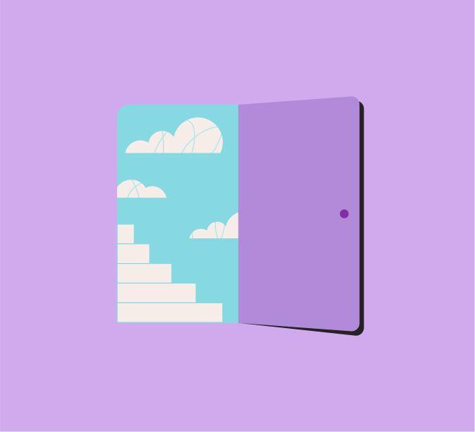 Dibujo de puerta abierta con escaleras y nubes