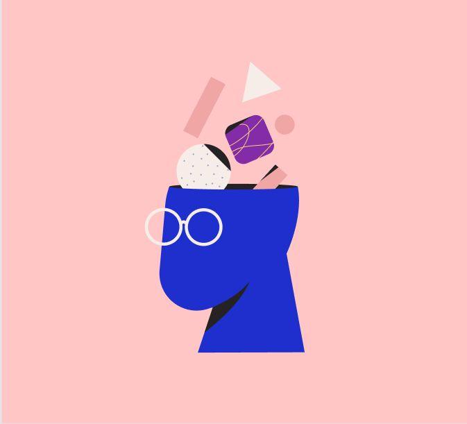 Dibujo de cabeza con gafas de la que salen formas geométricas