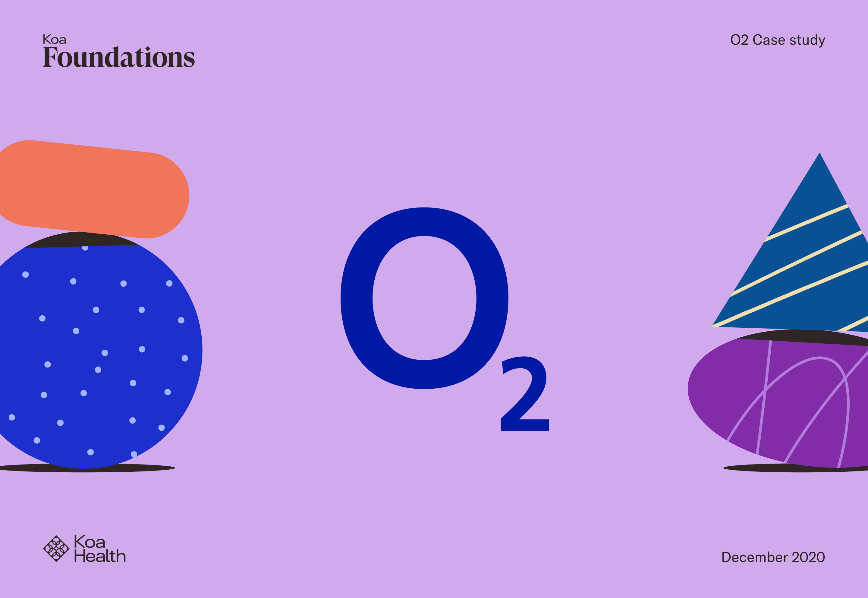 Dibujo de formas de Koa Foundations y logo de O2
