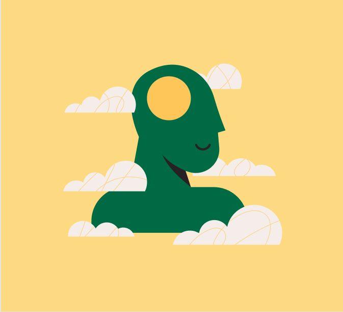 Dibujo de busto con un agujero en la cabeza y nubes