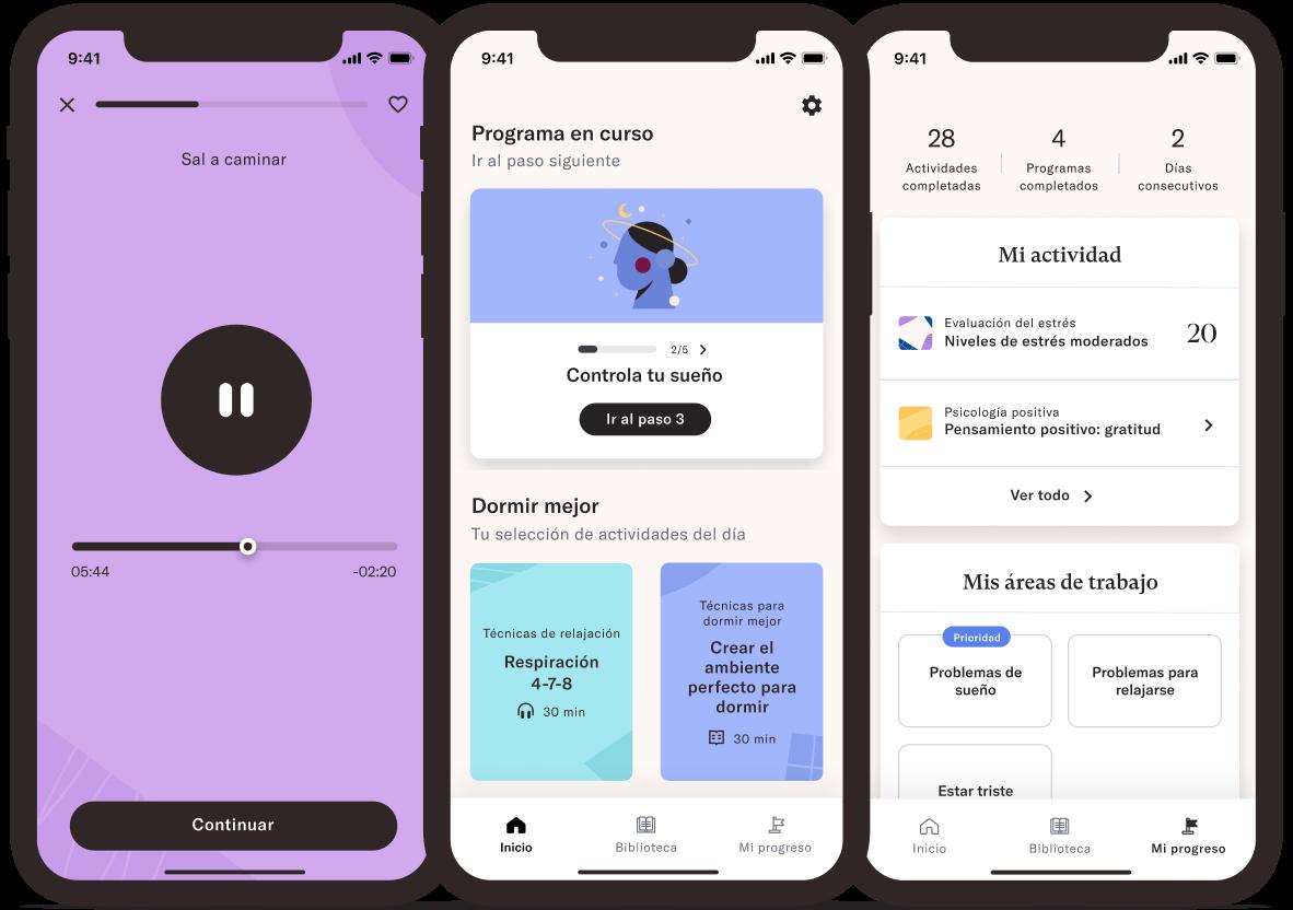 Tres pantallas de móviles con la app de Foundations