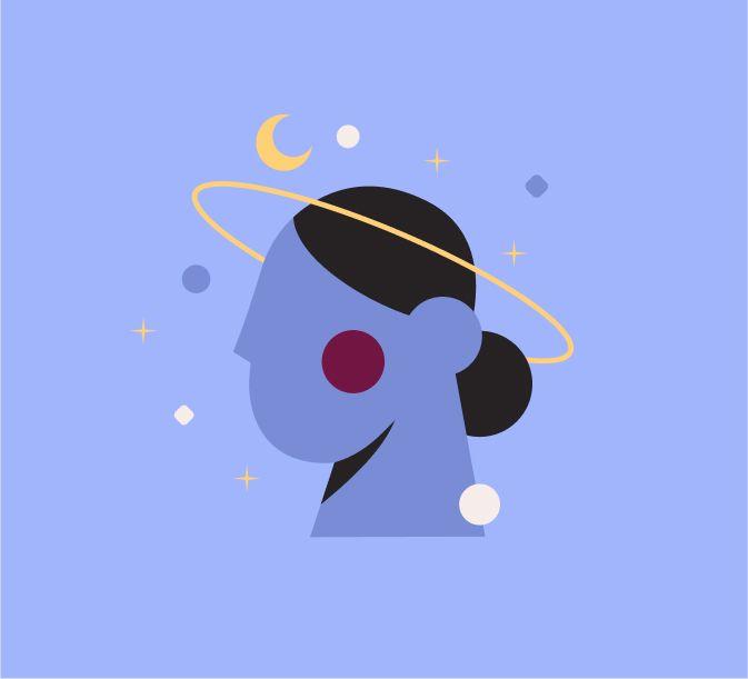 Dibujo de cabeza de mujer con anilla y formas flotando