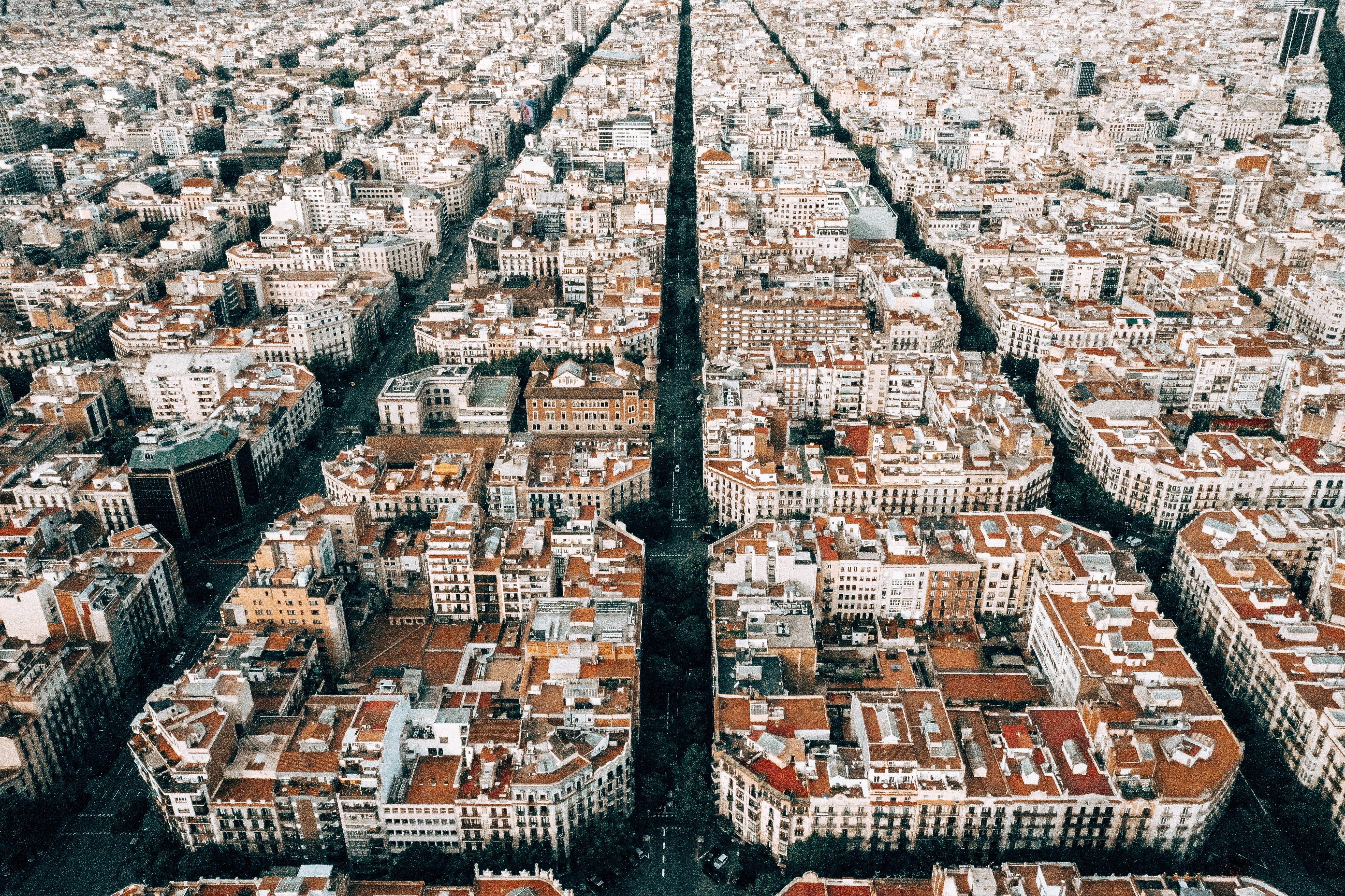 Vista aérea de la ciudad de Barcelona