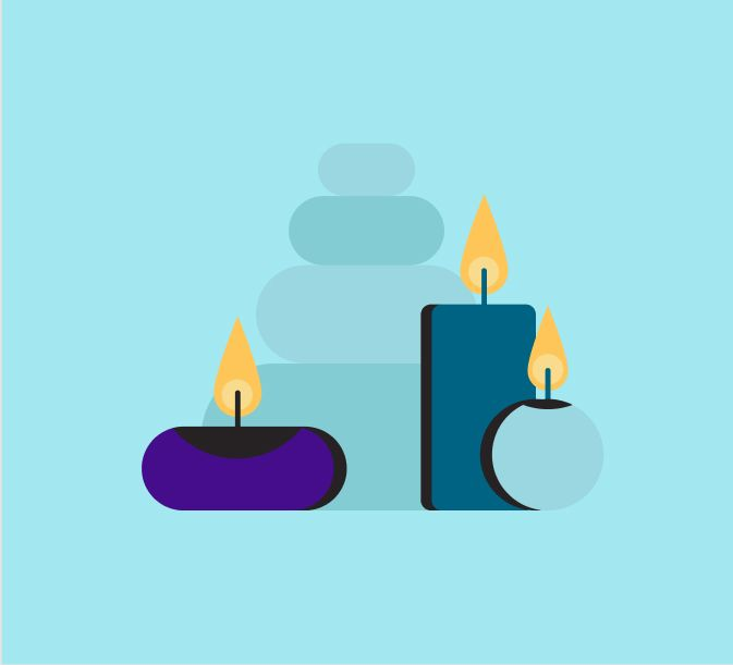 Dibujo de velas y piedras