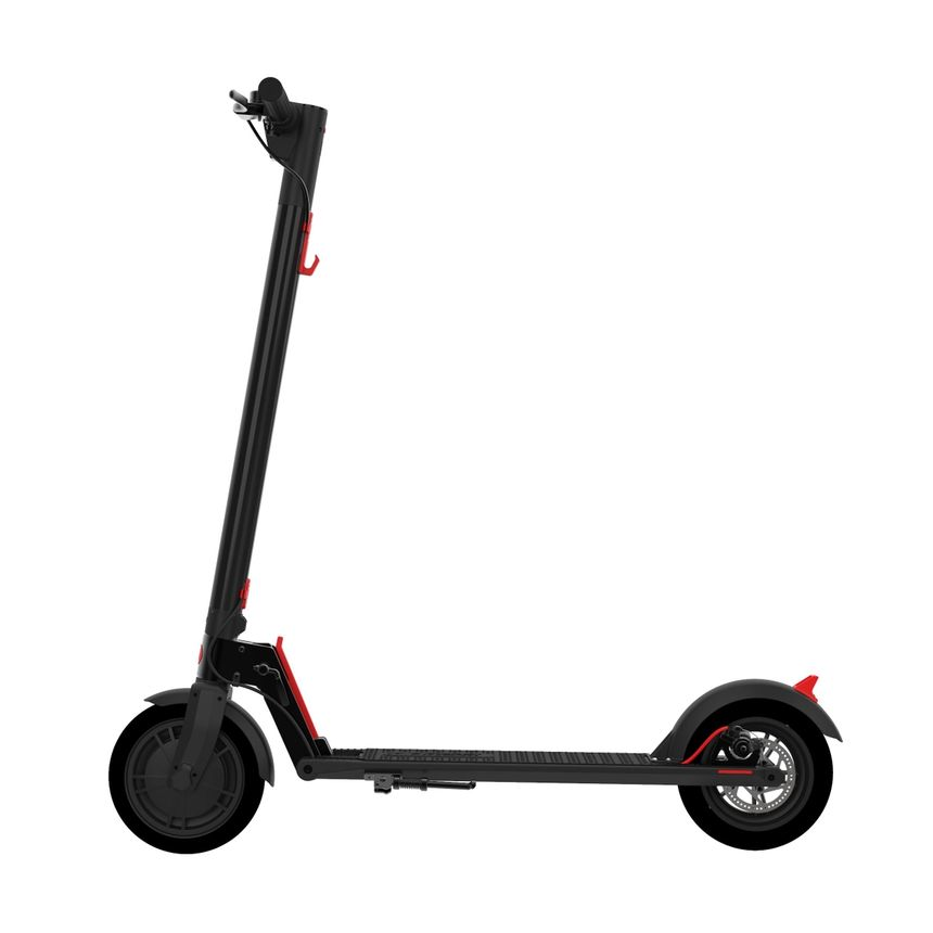 Gotrax GXL V2 electric scooter seen from the side with black frame and red details