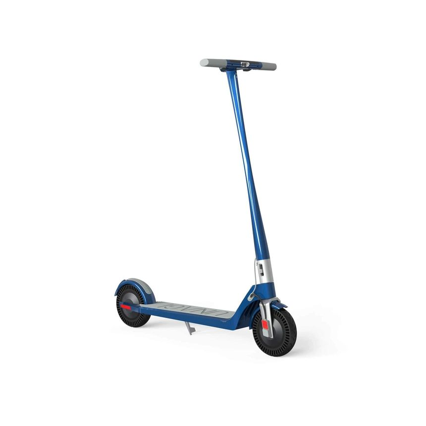 The Unagi Model One electric scooter in blue and silver, seen from the front.