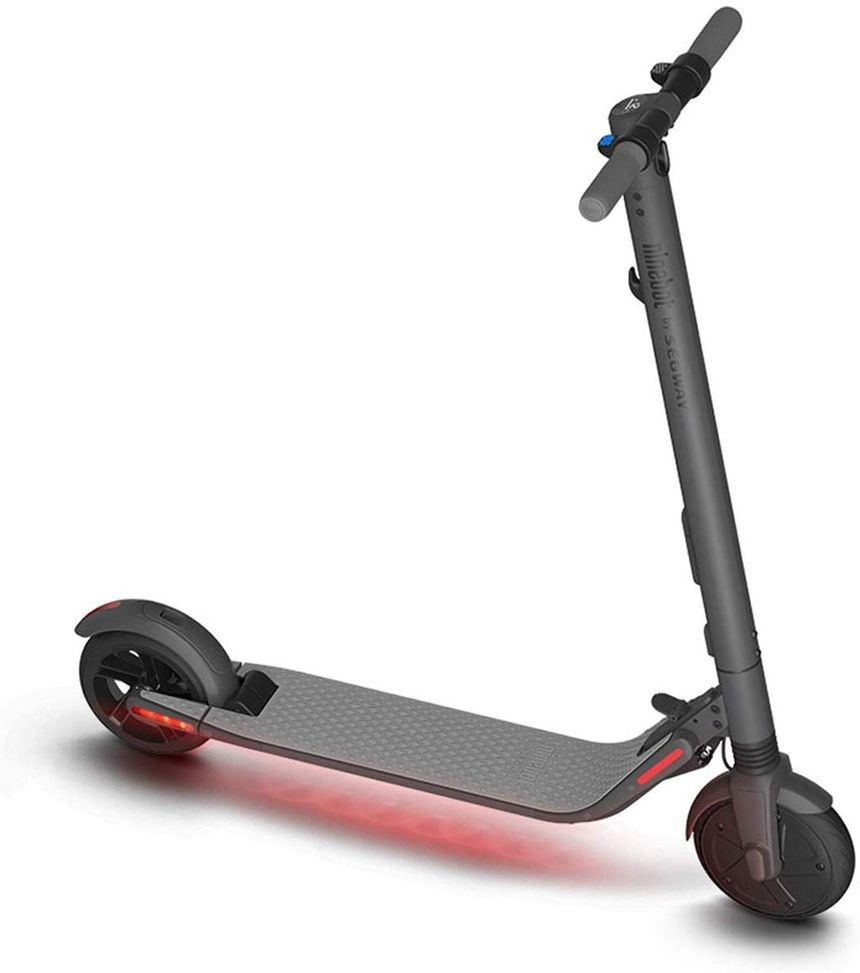The electric scooter by Segway (Ninebot Es4) has lights under the deck that give a futuristic look.
