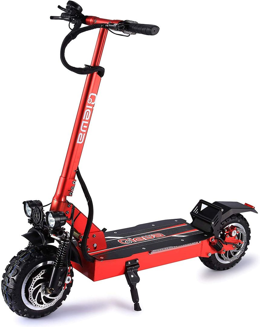 The Qiewa Q Power electric scooter seen from the front on it's stand