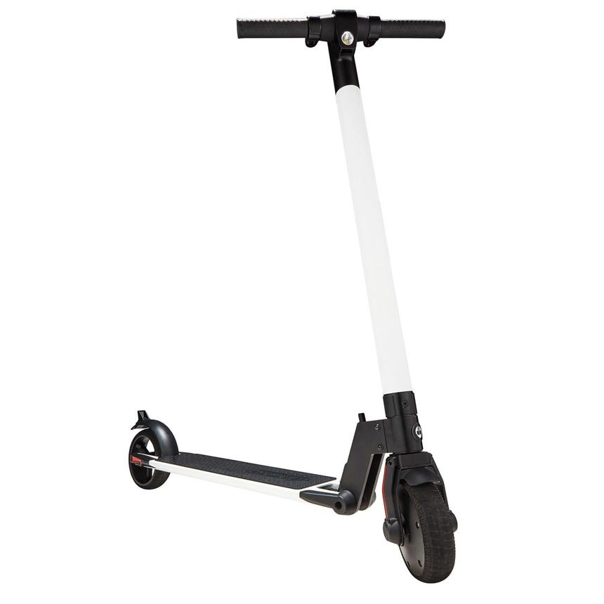 The G2 electric scooter from Gotrax is standing upright and seen from the front.