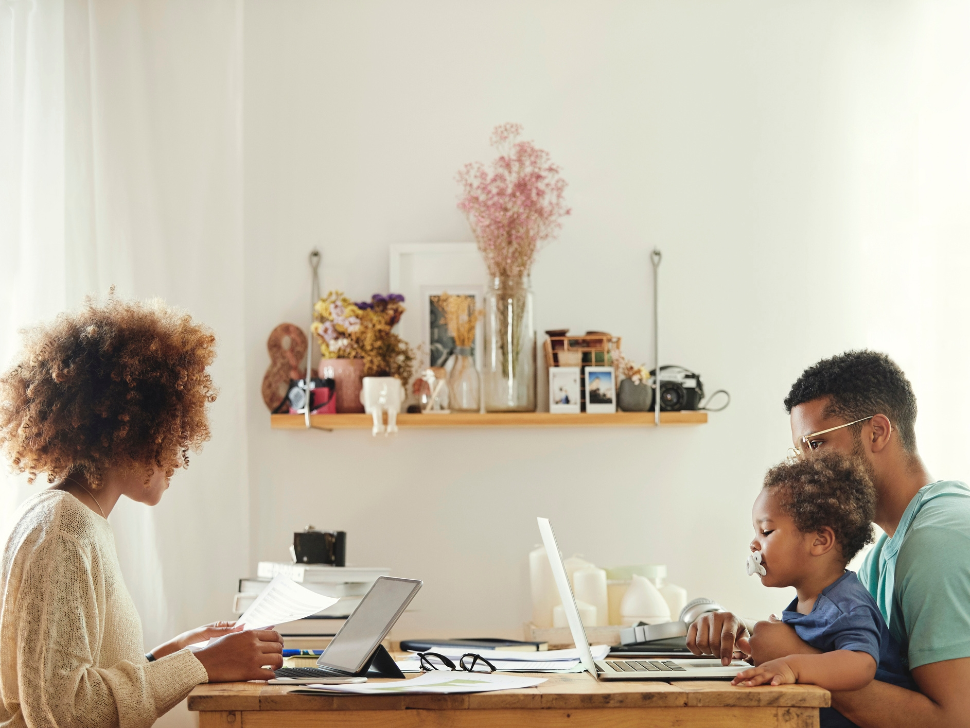 family working at the table