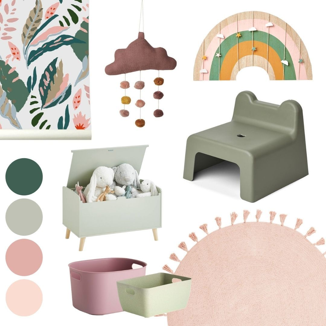 green-pink nursery mood board