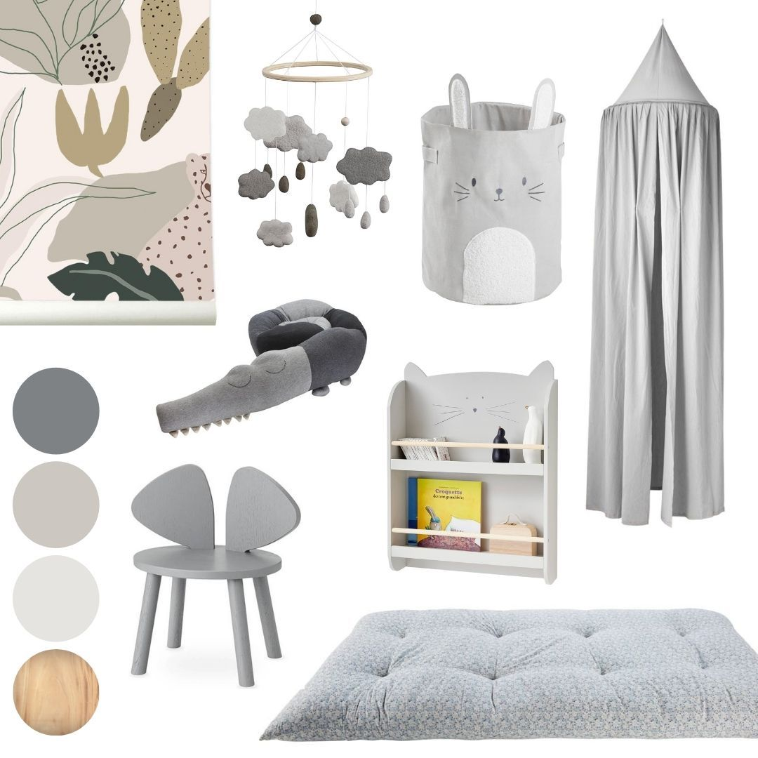warm grey nursery mood board