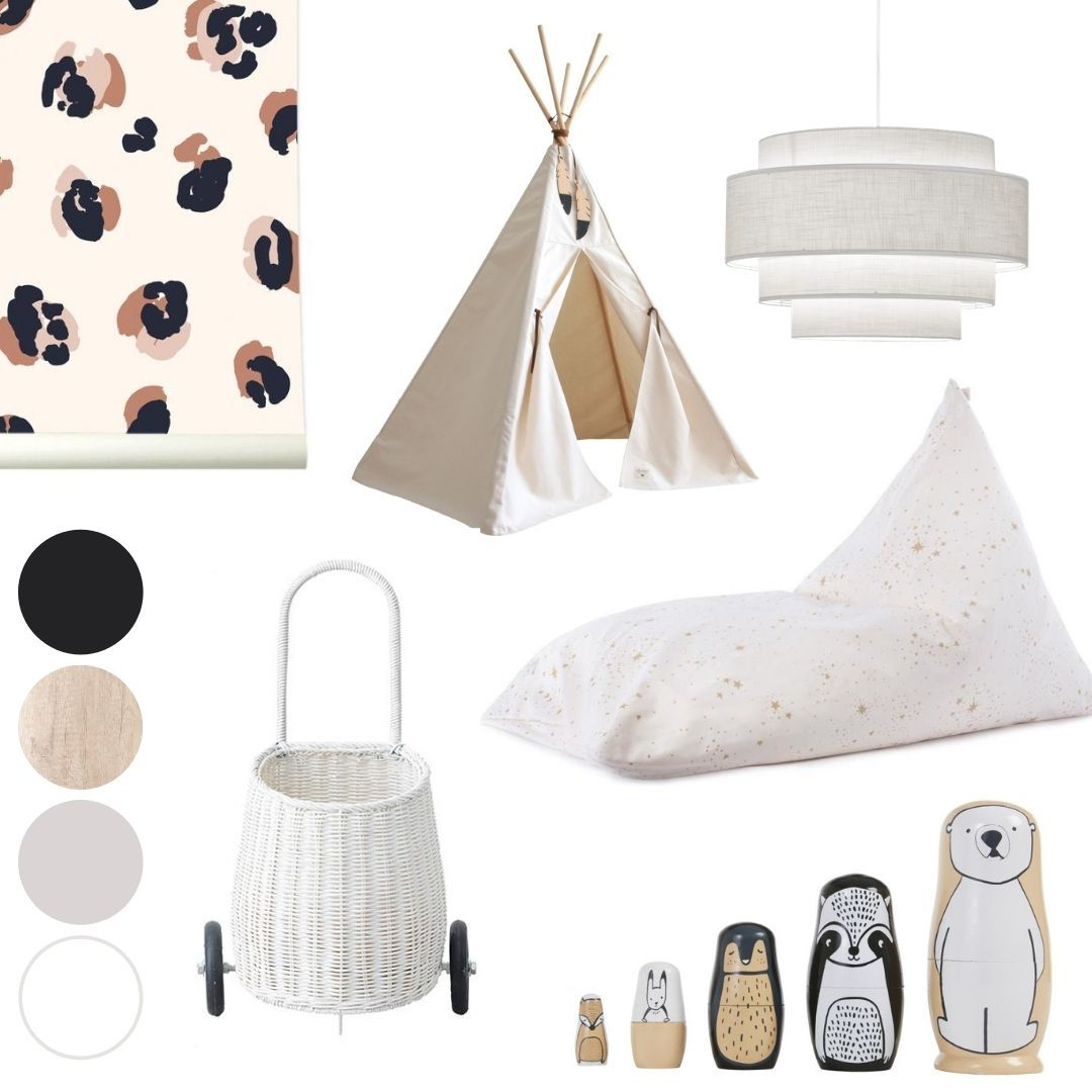 white nursery mood board