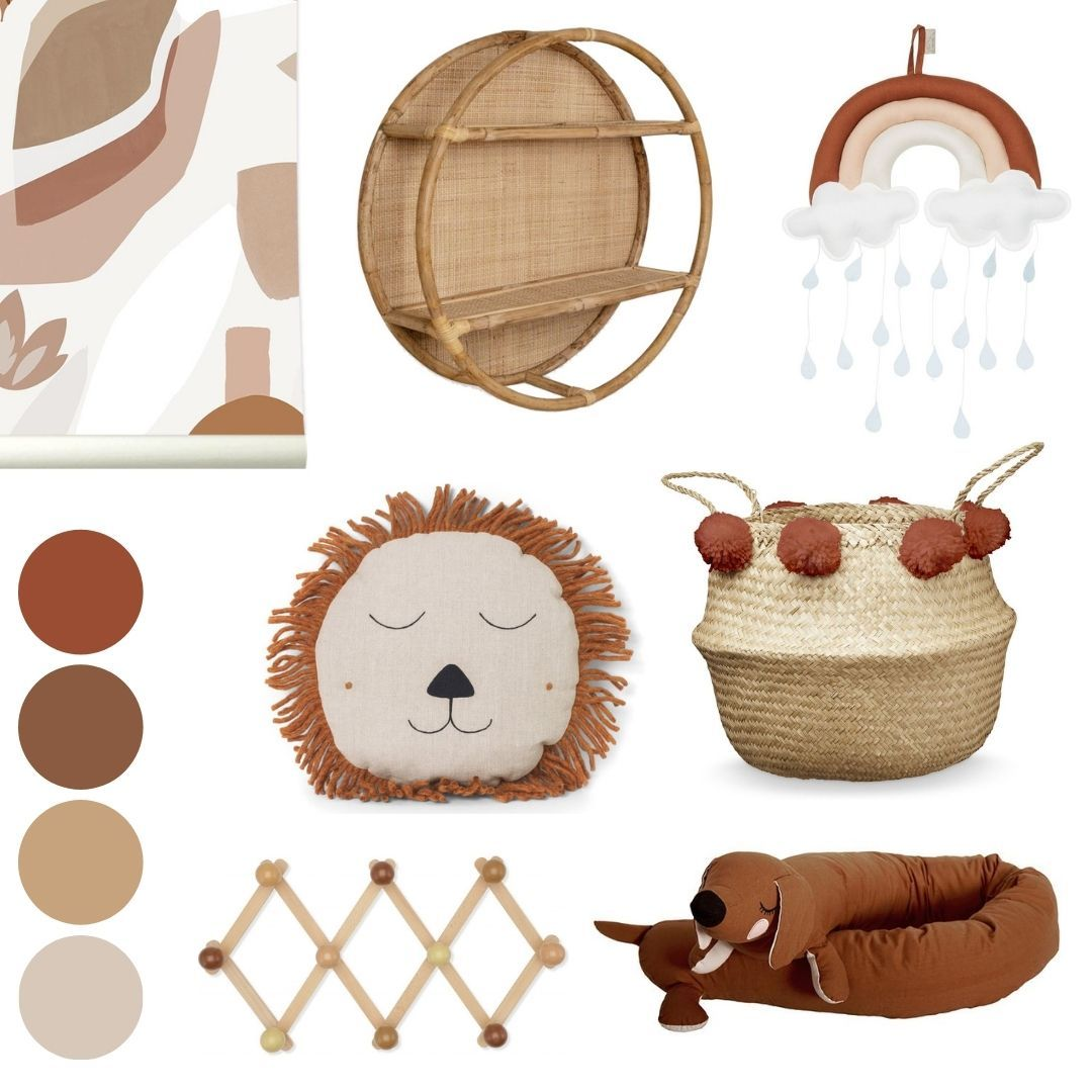 earth tones nursery mood board