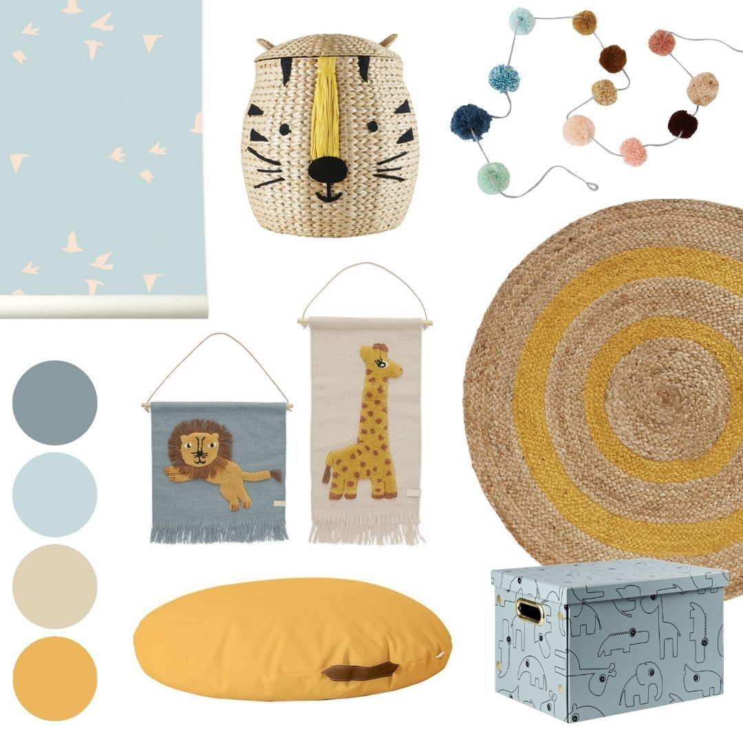 turquoise-mustard nursery mood board