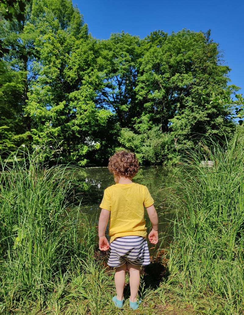 My son by a small lake in Steglitz