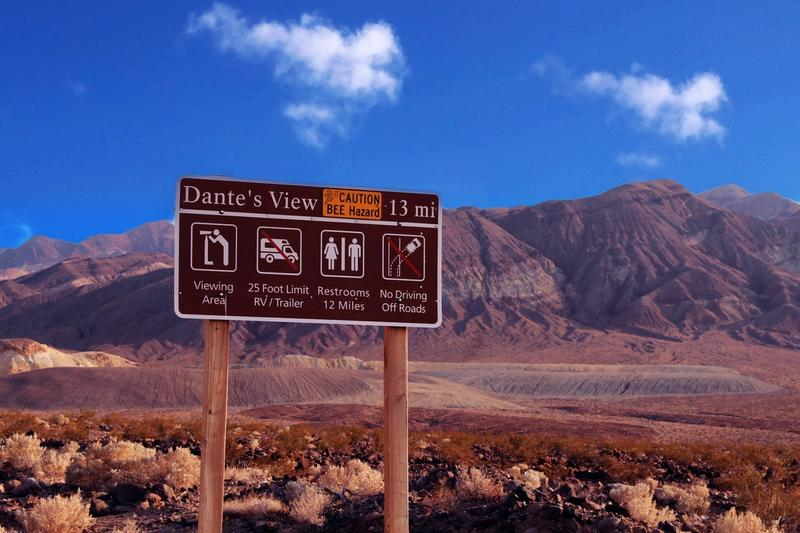 Dante's View Turnoff Sign