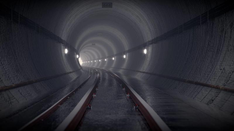 A computer generated image of a dark subway tunnel.