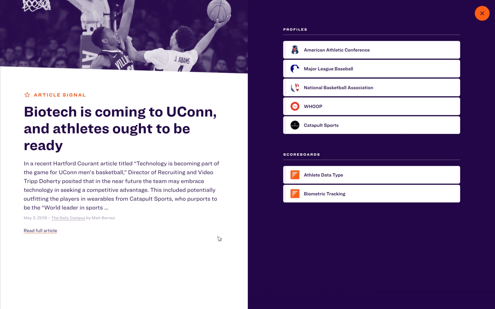 """A modal view for the article """"Biotech is coming to UConn, and athletes ought to be ready."""" On the left is an excerpt from the article, and on the right are associated profiles and scoreboards."""