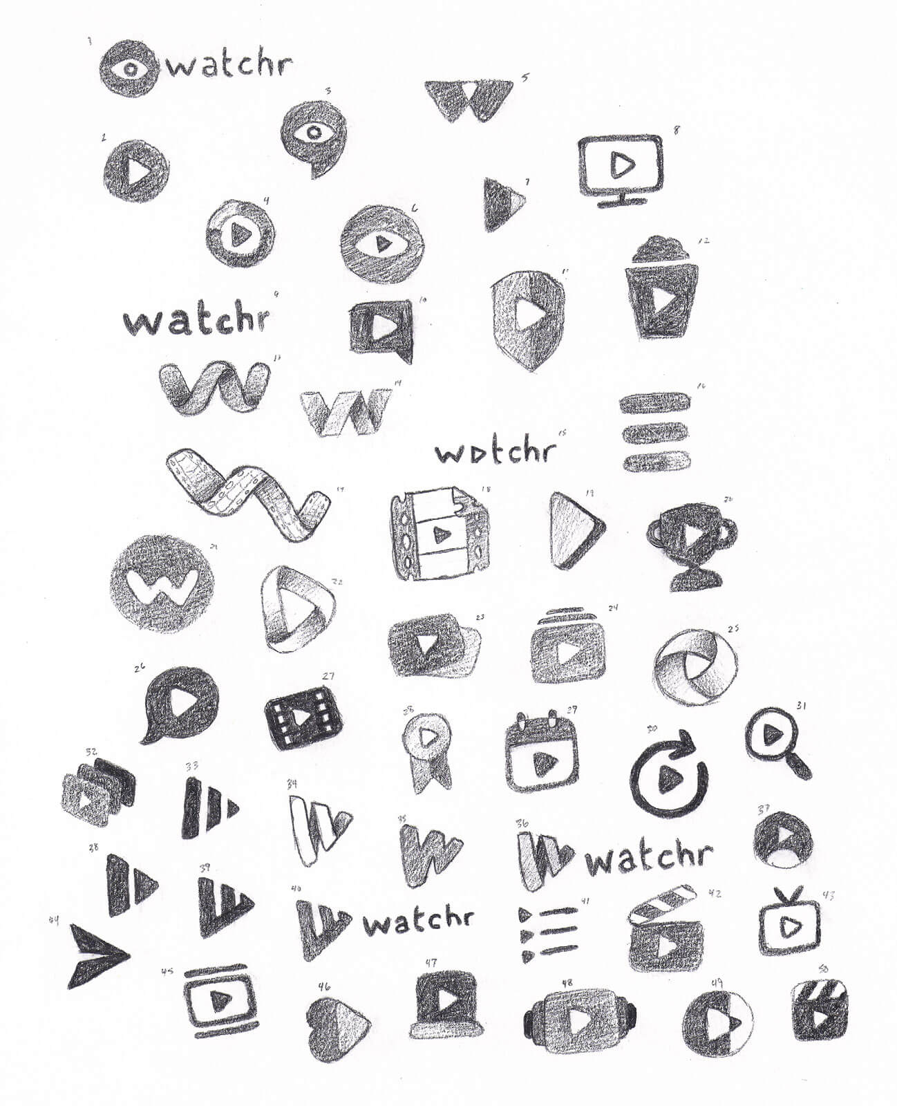A selection of hand-drawn logo sketches