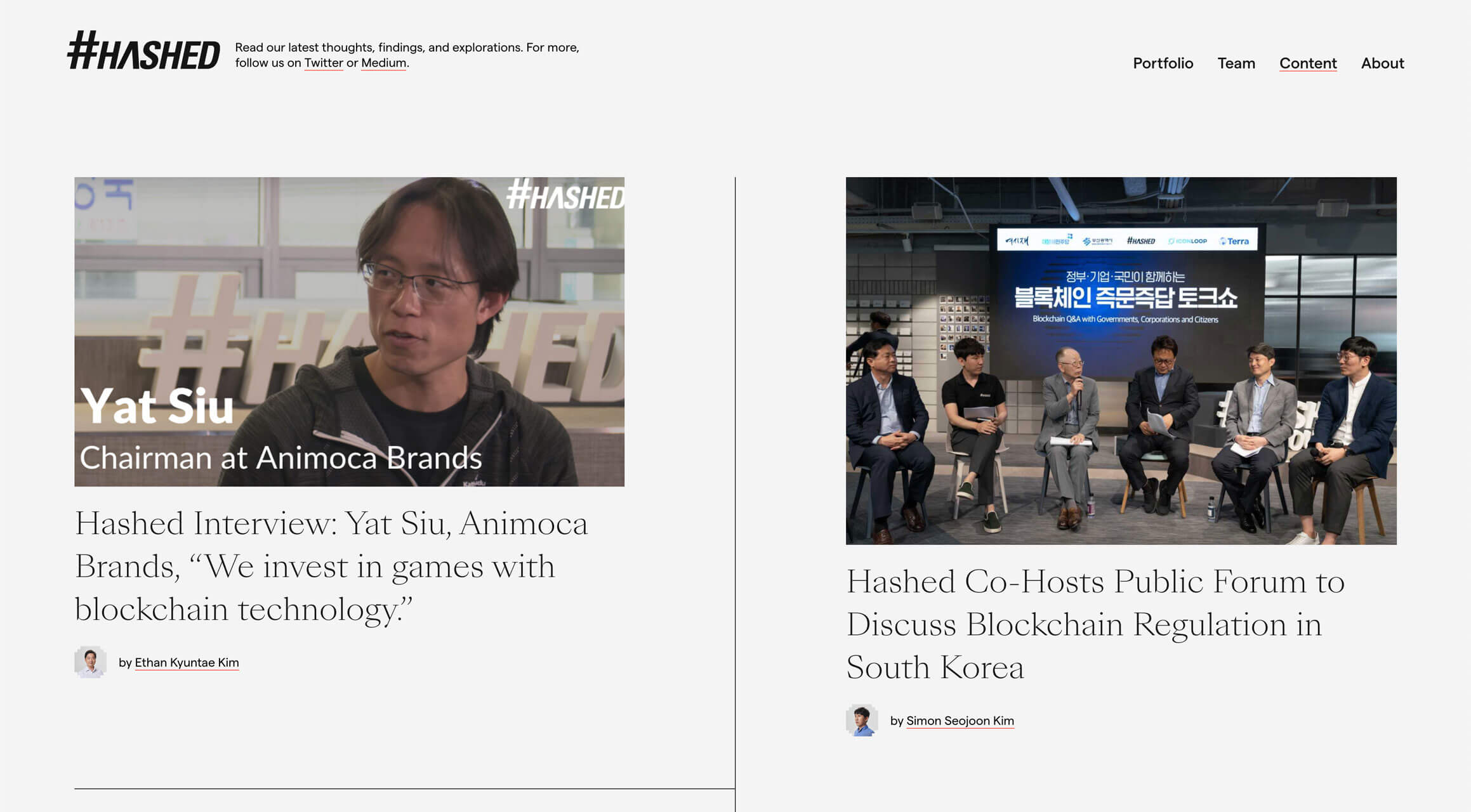 A screenshot of the Hashed content page. Two stories lead the two-column layout: one about an interview with Yat Siu from Animoca Brands, and the other about a Hashed-hosted public forum.