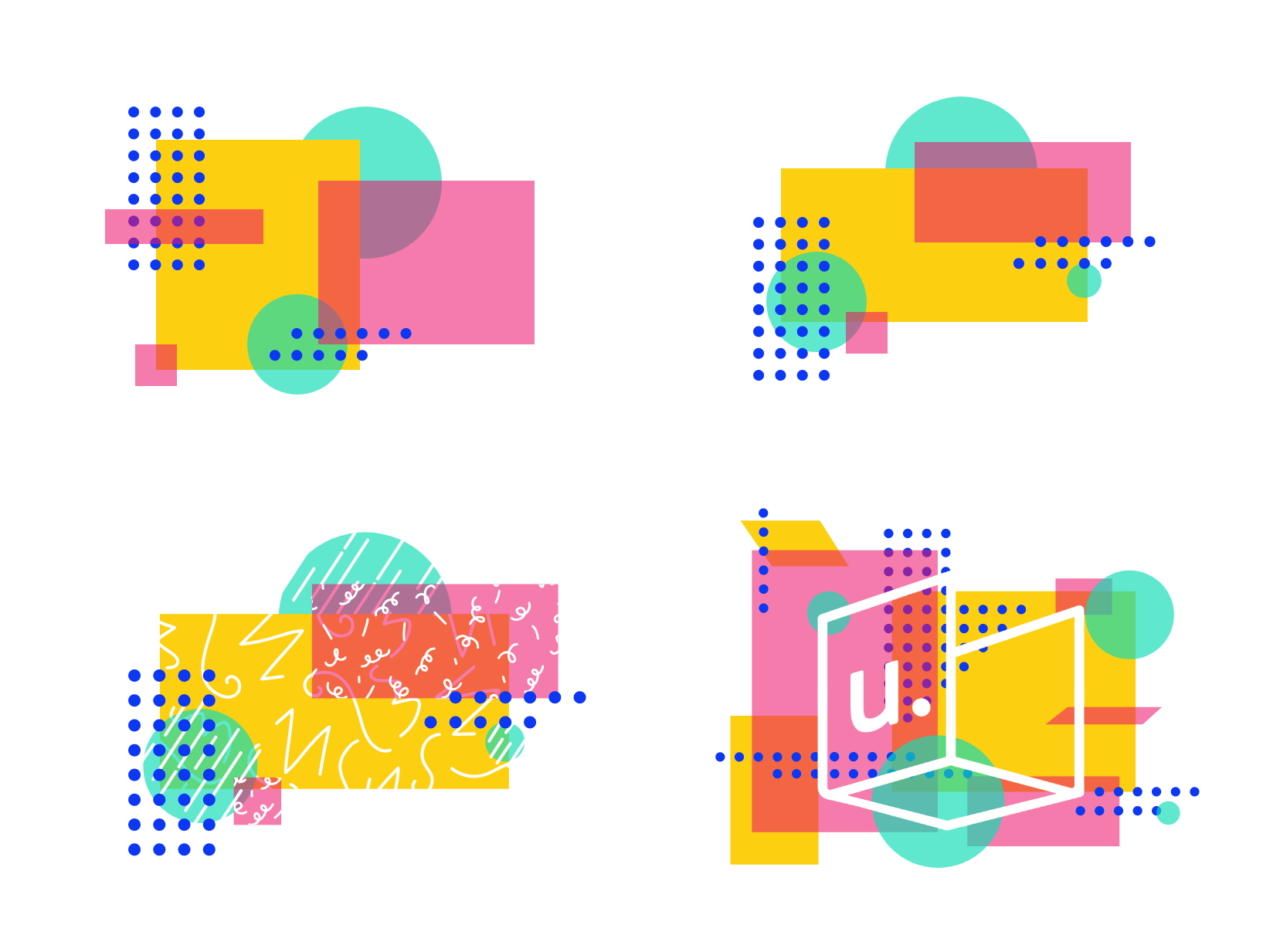 A series of four abstract illustrations using a combination of colors, shapes, and the brand sprinkles.
