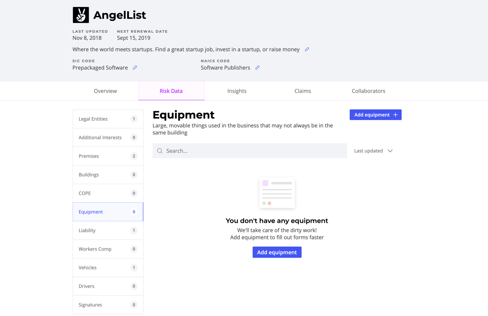 The empty state of the equipment Risk Data section of AngelList's profile