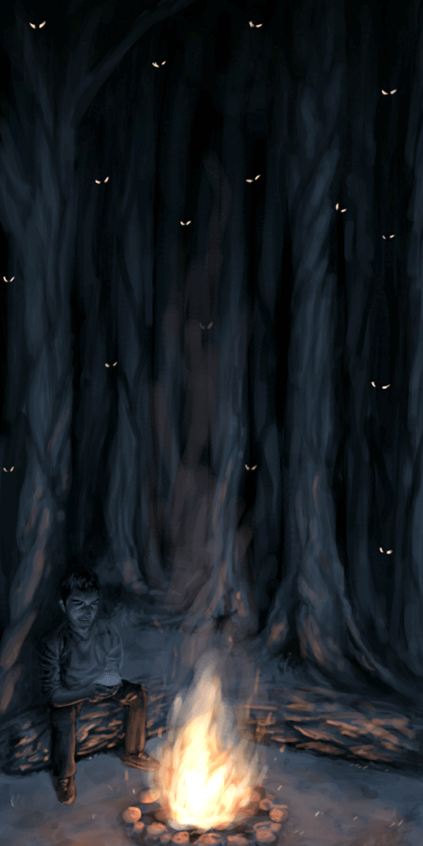 A man is on his phone in the middle of a forest with a campfire. Tens of glowing eyes are shown peering through the trees.