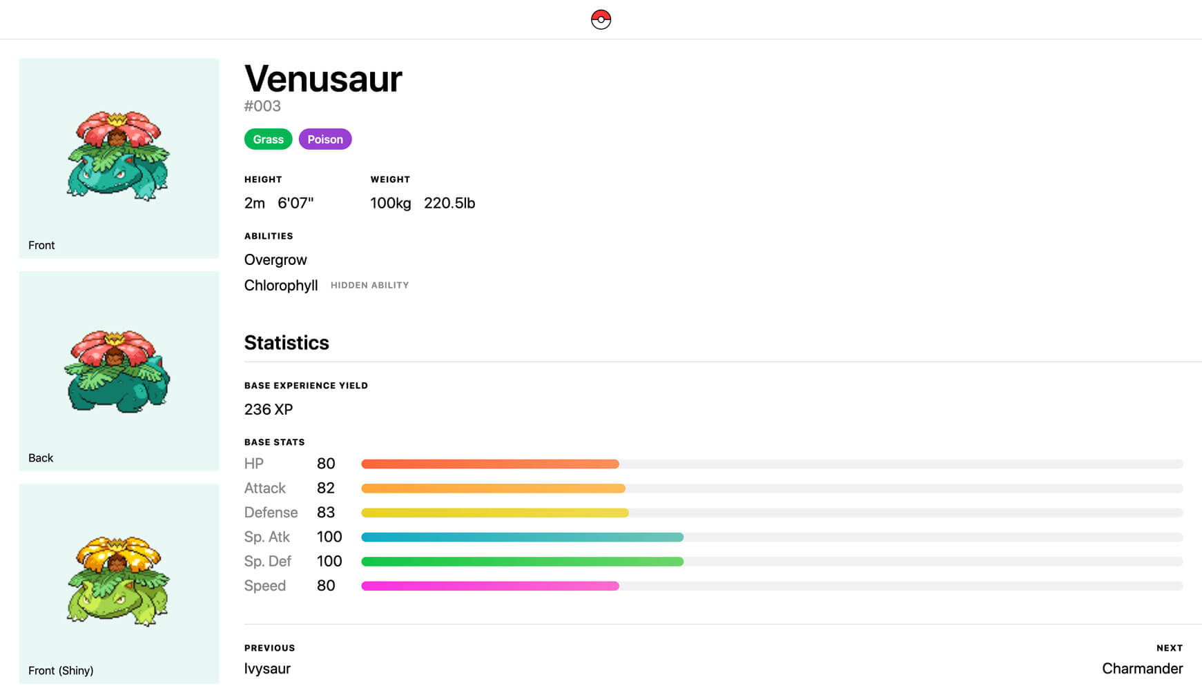 A detailed view for Venusaur, showing its sprites, types, abilities, and statistics.