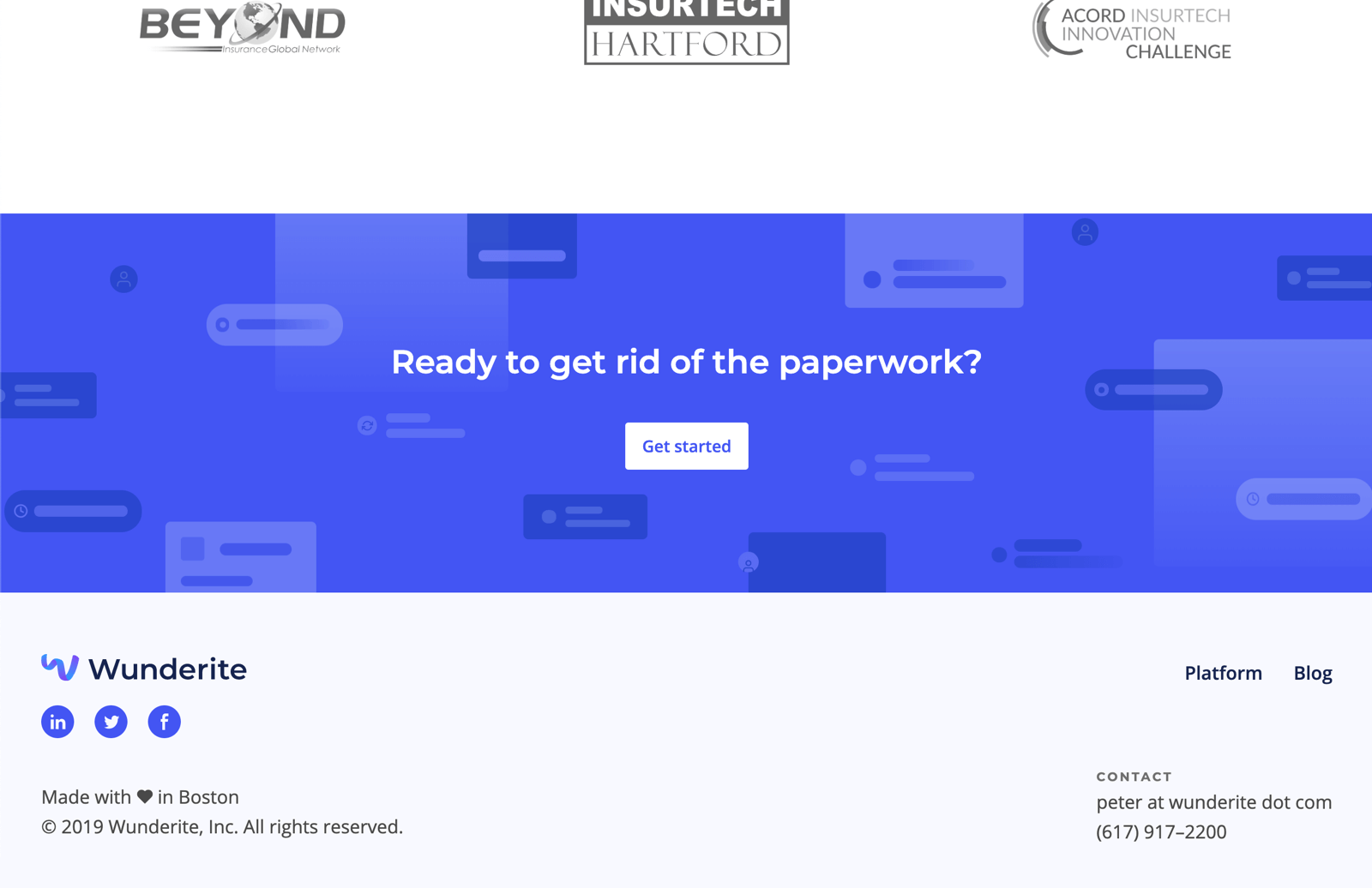 "The footer of the website, featuring a blue CTA section with tons of abstract illustrations. Atop of it reads ""Ready to git rid of the paperwork?"" with a white button that says ""Get started."""