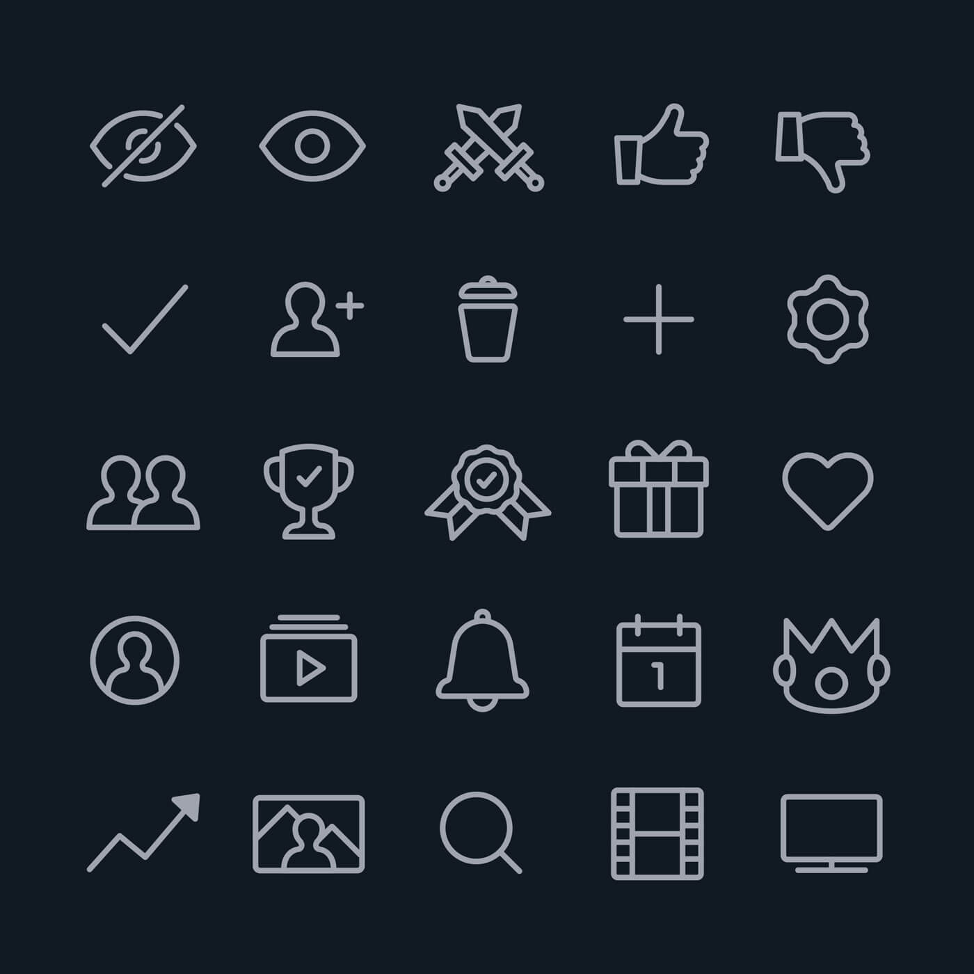 A collection of icons, including a bell for alerts and a thumbs up for liking items