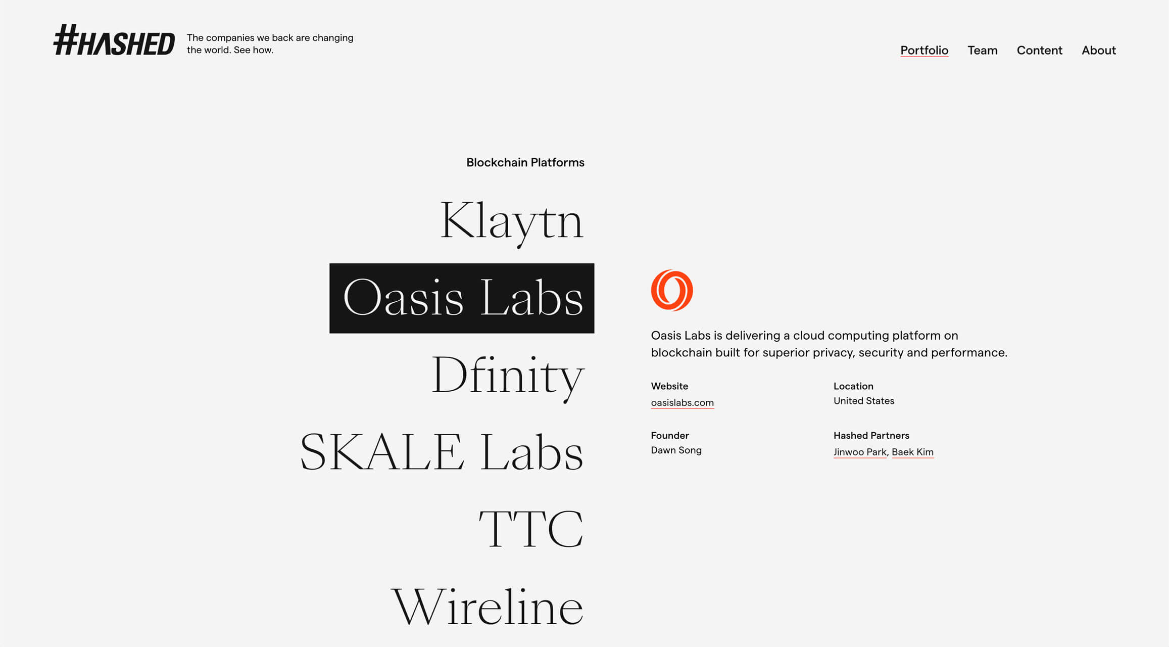 """A screenshot of the Hashed portfolio page, with a list of companies in large type spanning the screen vertically. """"Oasis Labs"""" is highlighted, with relevant info on the right."""