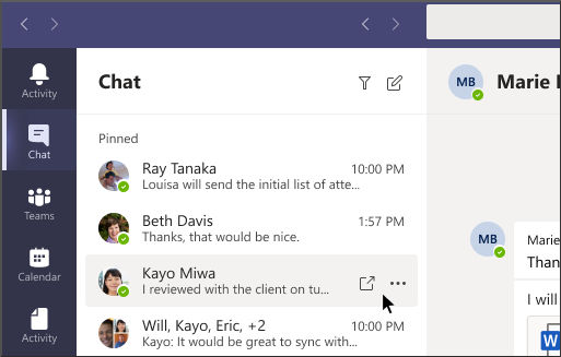 Løsne chat i Teams