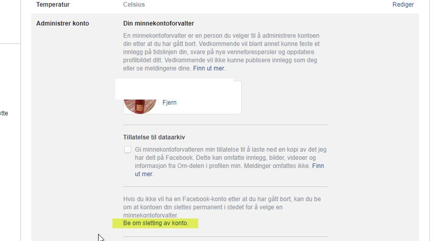 Be om sletting av Facebook-konto