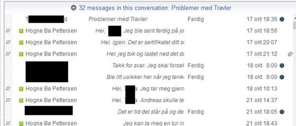 Samtaletråd i e-post i Notes