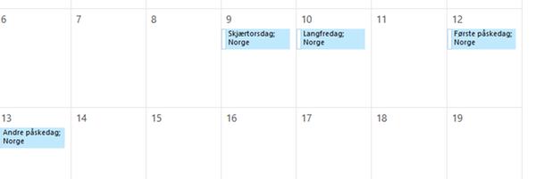 Outlook-kalender med helligdager