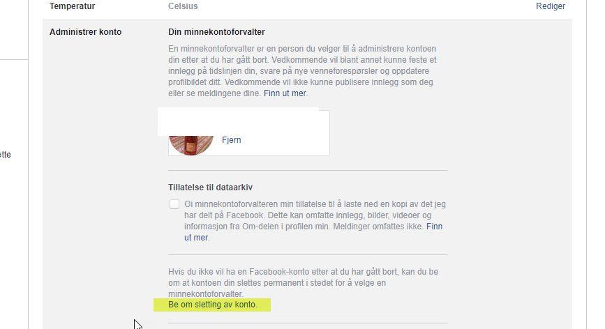 Be om sletting av Facebook-konto