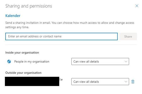 Delingsinnstillinger for kalender i Outlook