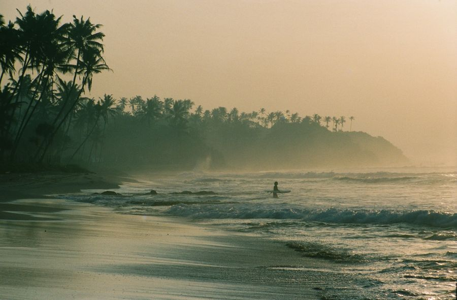 A small figure holding a surf board heads out to the ocean in the early morning Sri Lanka sun.