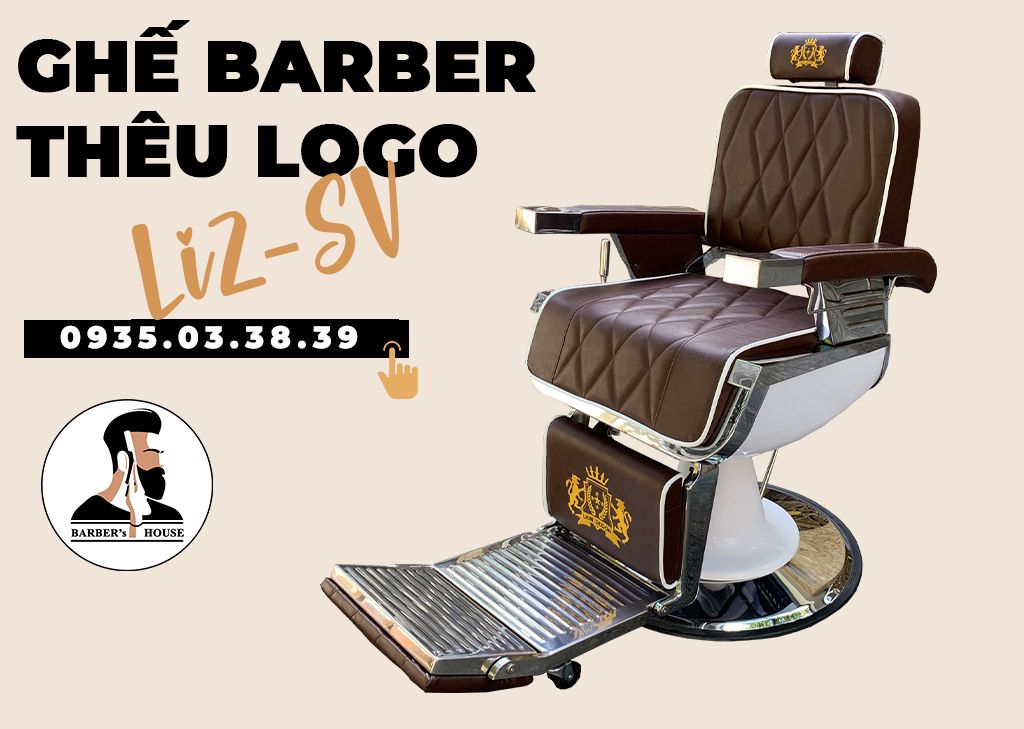 ghế barber thêu logo li2-02sv