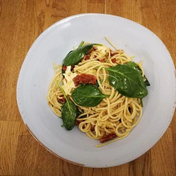 Lauch-Knoblauch-Spaghetti