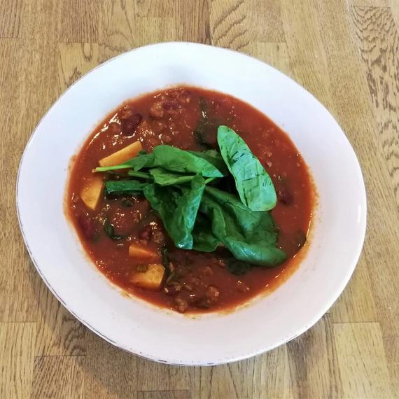Chili sin Carne mit Spinat