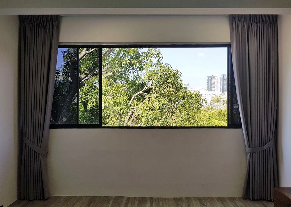 Condo Living Room Night Curtains Window Film