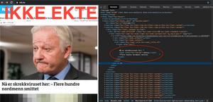 Manipulert versjon av NRKs nettsider.