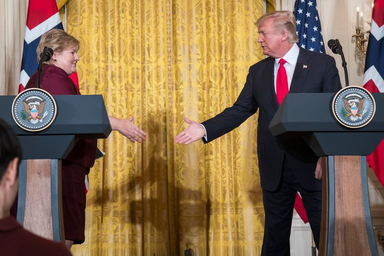USAs president Donald Trump har kalt koronaviruset for «the China virus». Her fra statsminister Erna Solbergs besøk i Det hvite hus i 2018.