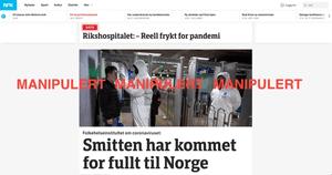 En versjon av NRKs forside som er manipulert i utviklermodusen til Google Chrome.
