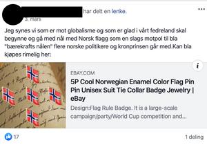 Et tidlig eksempel på oppfordring til å kjøpe jakkemerke med norsk flagg.