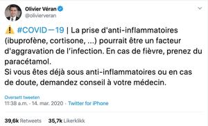 «Å ta antiinflammatoriske legemidler (ibuprofen, kortison...) kan være en faktor som forverrer infeksjonen, Hvis du har feber, ta paracetamol», skriver den franske helseministeren på Twitter.